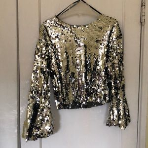 Urban outfitters sequin bell sleeve shirt